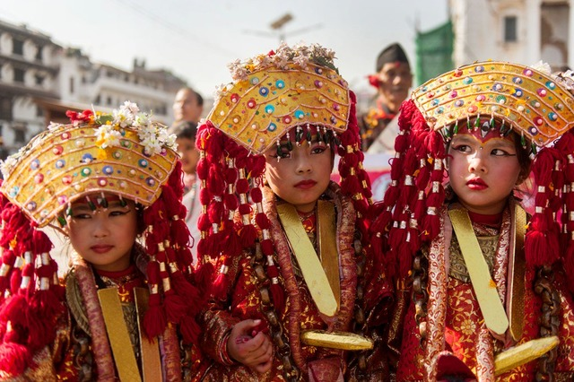 Young girls dressed in Newari attire in Yomari Punhi